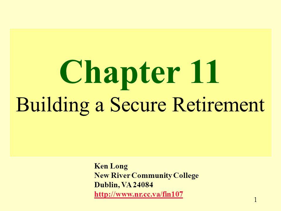 1 Chapter 11 Building a Secure Retirement Ken Long New River Community College Dublin, VA 24084 http://www.nr.cc.va/fin107 http://www.nr.cc.va/fin107