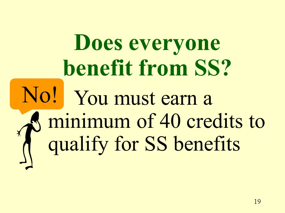 19 No! You must earn a minimum of 40 credits to qualify for SS benefits Does everyone benefit from SS?