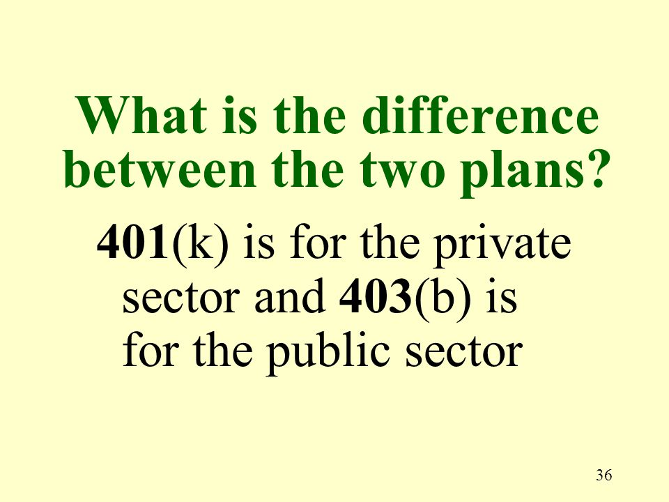 36 401(k) is for the private sector and 403(b) is for the public sector What is the difference between the two plans?