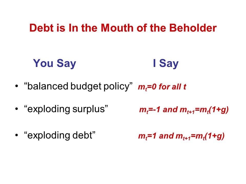 Debt is In the Mouth of the Beholder You Say I Say balanced budget policy m t =0 for all t exploding surplus m t =-1 and m t+1 =m t (1+g) exploding debt m t =1 and m t+1 =m t (1+g)