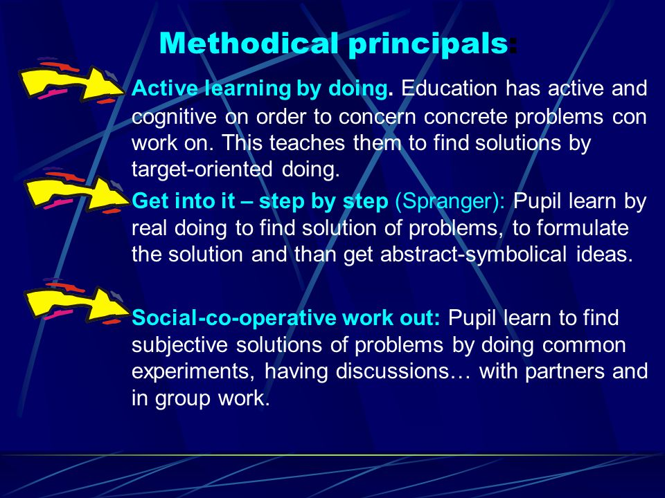 o Relationship to practical problems: Education reflects the individual life of children, their experience in the meeting with the world, their perception and learning ability.
