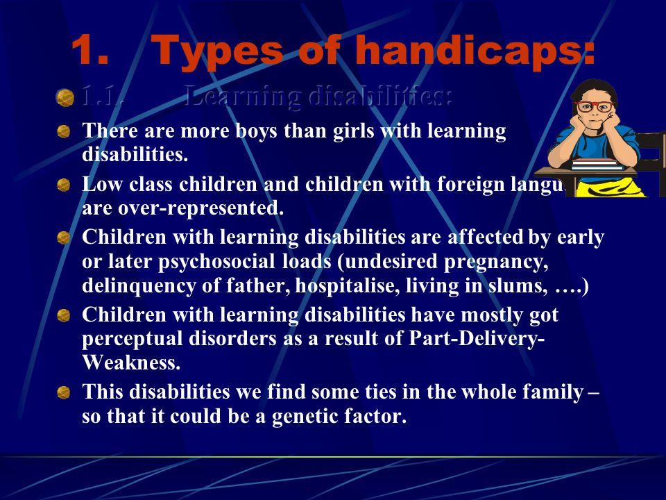1. Types of handicaps: