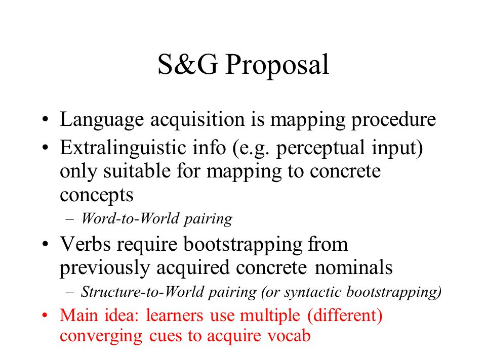 S&G Proposal Language acquisition is mapping procedure Extralinguistic info (e.g.