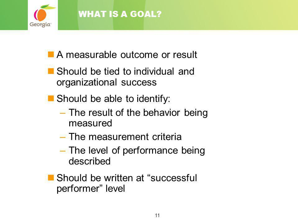 11 WHAT IS A GOAL? A measurable outcome or result Should be tied to individual and organizational success Should be able to identify: –The result of t