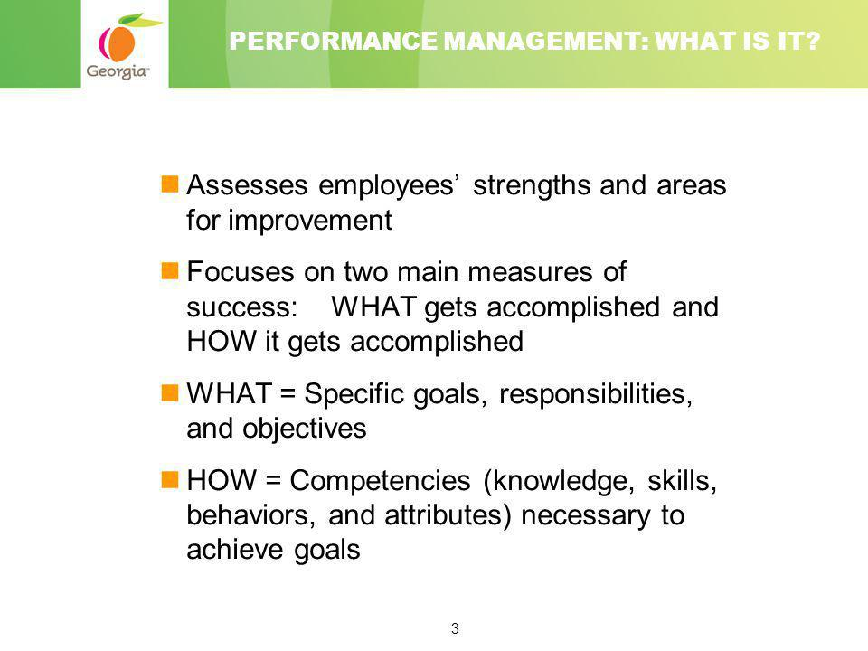 3 PERFORMANCE MANAGEMENT: WHAT IS IT? Assesses employees' strengths and areas for improvement Focuses on two main measures of success: WHAT gets accom