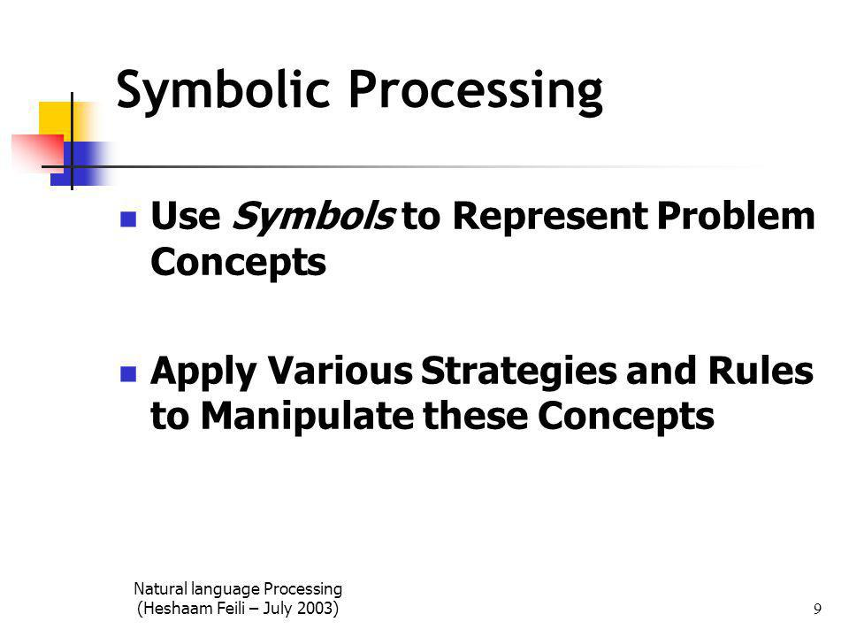Natural language Processing (Heshaam Feili – July 2003) 9 Symbolic Processing Use Symbols to Represent Problem Concepts Apply Various Strategies and Rules to Manipulate these Concepts