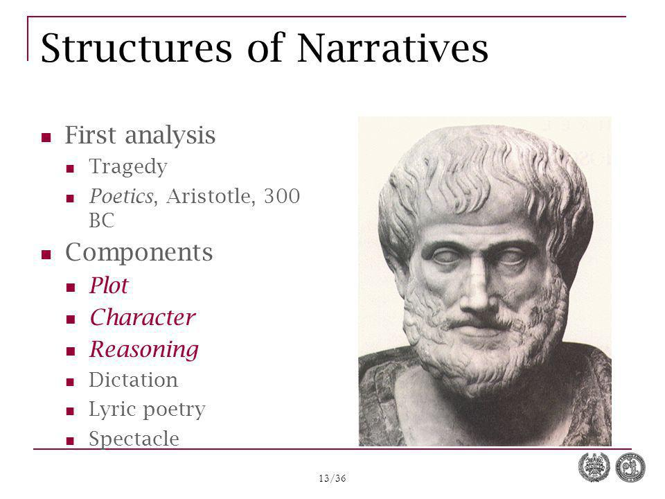 13/36 Structures of Narratives First analysis Tragedy Poetics, Aristotle, 300 BC Components Plot Character Reasoning Dictation Lyric poetry Spectacle