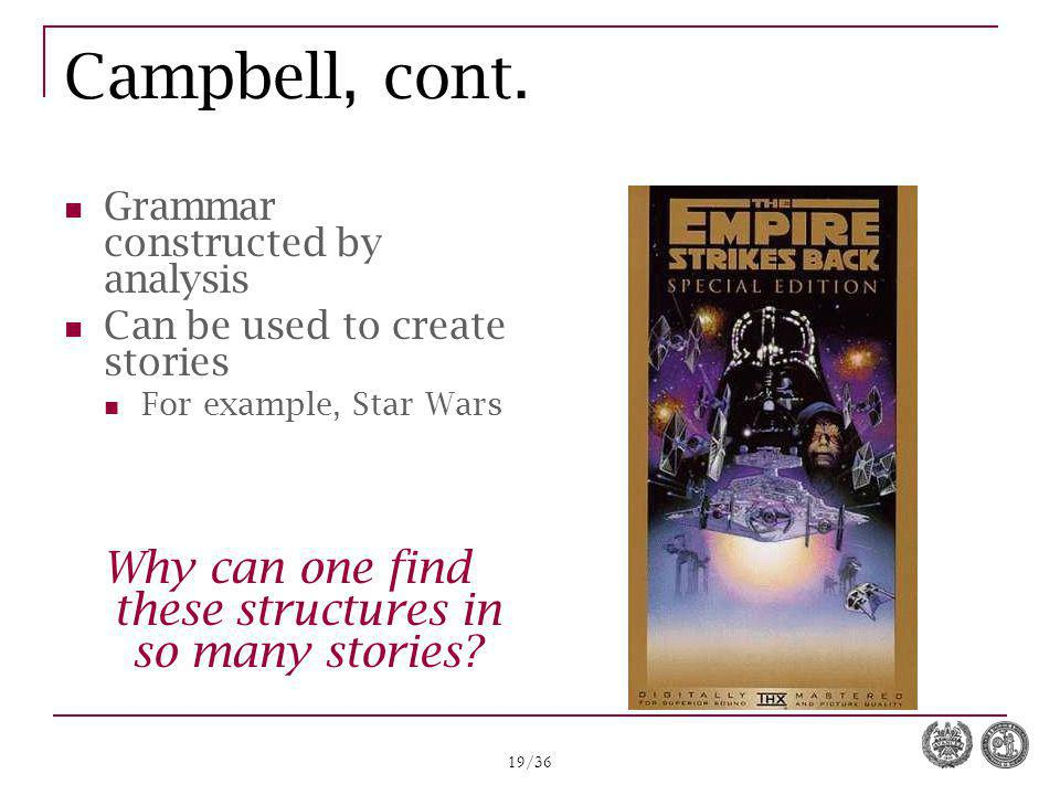 19/36 Campbell, cont. Grammar constructed by analysis Can be used to create stories For example, Star Wars Why can one find these structures in so man