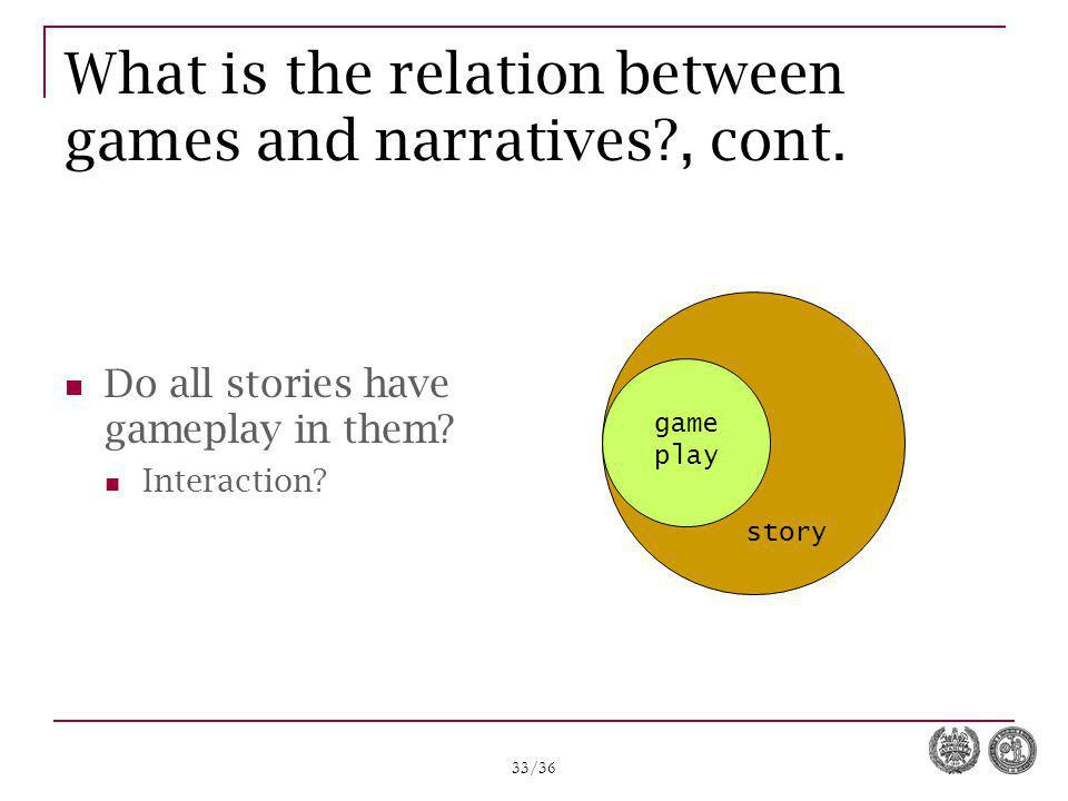 33/36 What is the relation between games and narratives?, cont. Do all stories have gameplay in them? Interaction? game play story