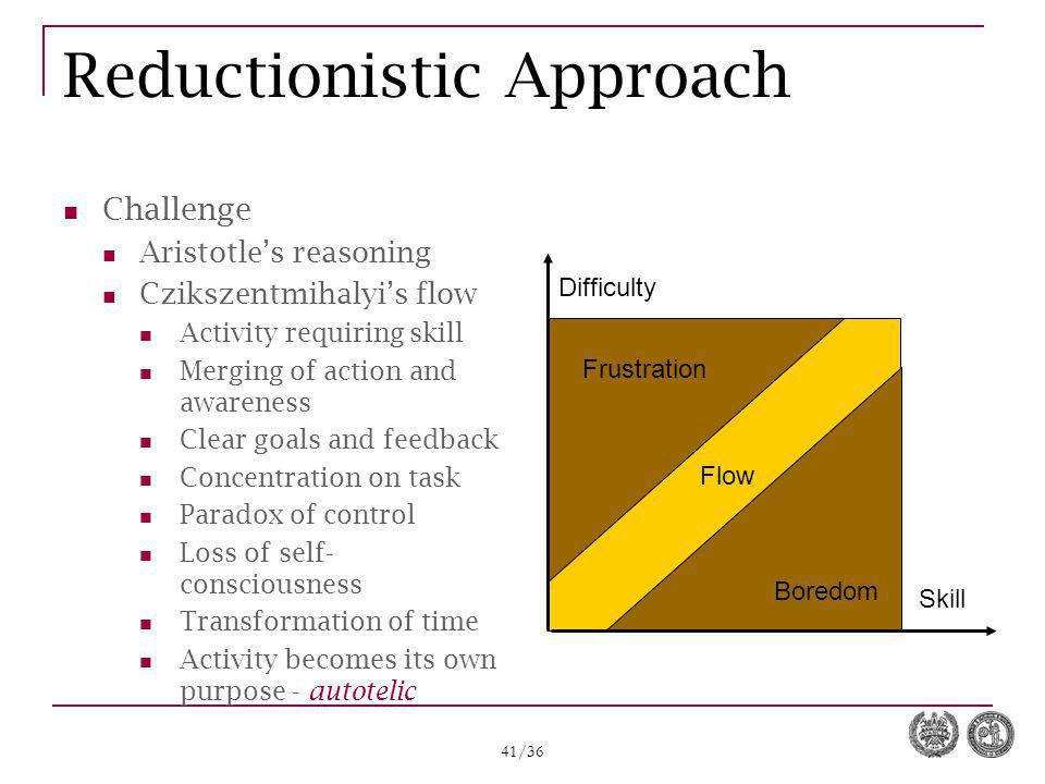 41/36 Reductionistic Approach Challenge Aristotle's reasoning Czikszentmihalyi's flow Activity requiring skill Merging of action and awareness Clear g