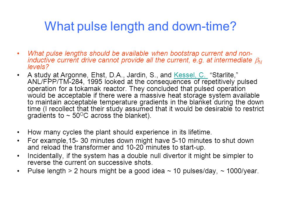 What pulse length and down-time.
