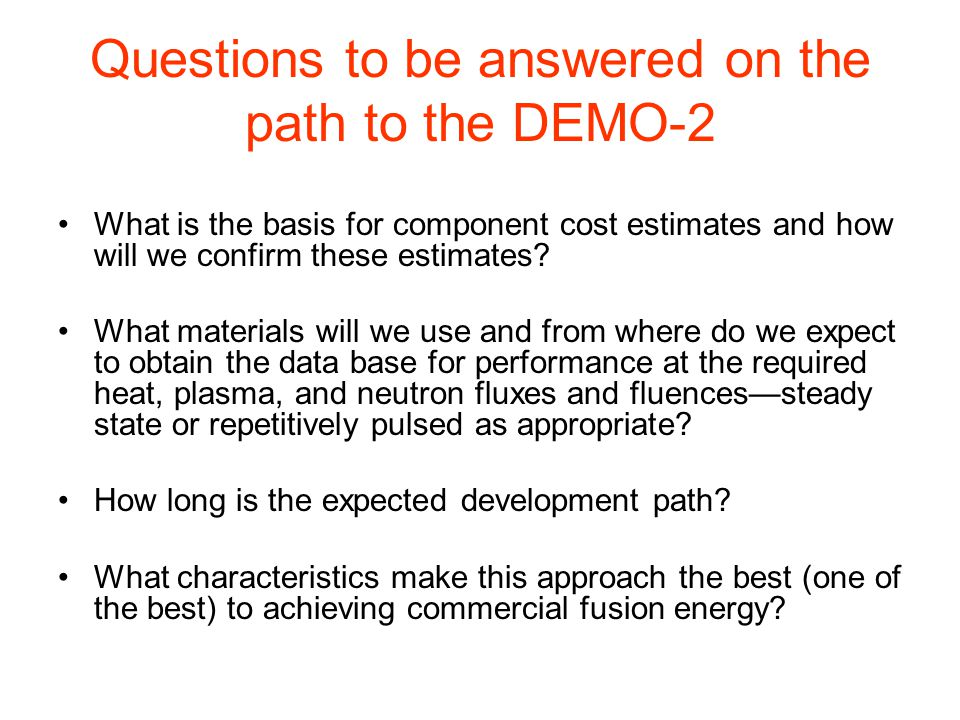 This Talk Looks At AVAILABILITY: What is required for each component of a DEMO and where will the data base come from.