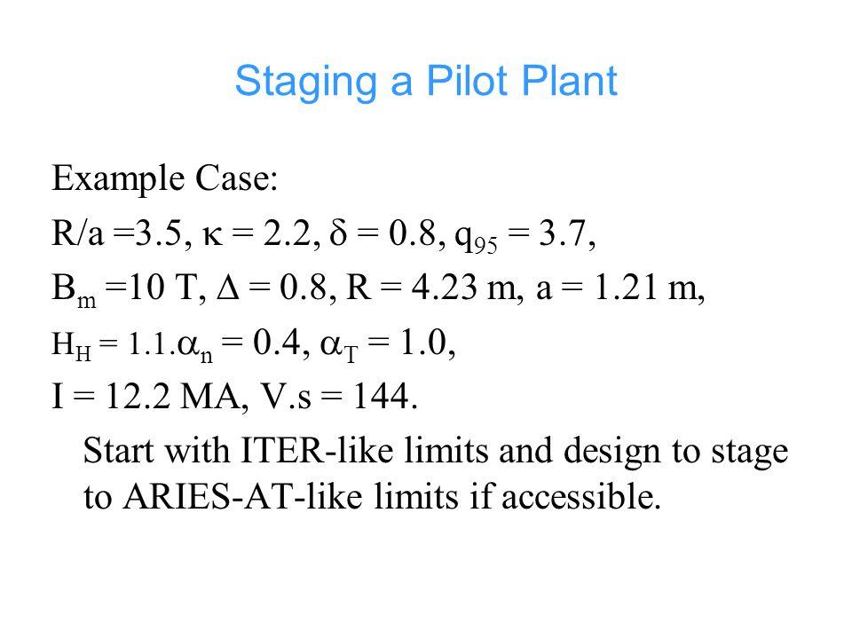 Staging a Pilot Plant Example Case: R/a =3.5,  = 2.2,  = 0.8, q 95 = 3.7, B m =10 T,  = 0.8, R = 4.23 m, a = 1.21 m, H H = 1.1.