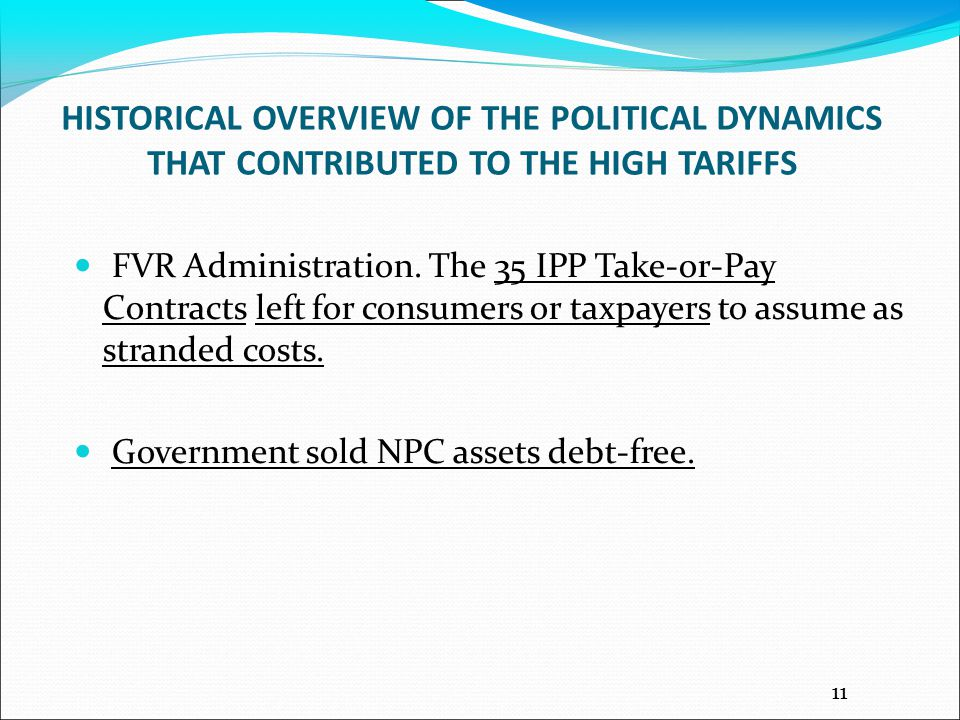HISTORICAL OVERVIEW OF THE POLITICAL DYNAMICS THAT CONTRIBUTED TO THE HIGH TARIFFS FVR Administration.