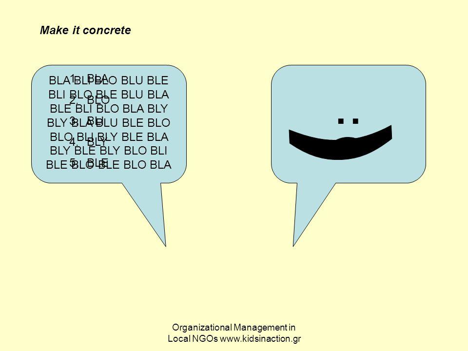 Organizational Management in Local NGOs www.kidsinaction.gr BLA BLI BLO BLU BLE BLI BLO BLE BLU BLA BLE BLI BLO BLA BLY BLY BLA BLU BLE BLO BLO BLI BL