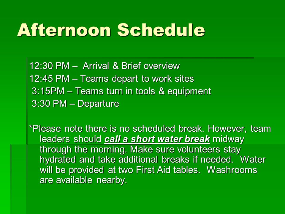 Afternoon Schedule 12:30 PM – Arrival & Brief overview 12:45 PM – Teams depart to work sites 3:15PM – Teams turn in tools & equipment 3:15PM – Teams turn in tools & equipment 3:30 PM – Departure 3:30 PM – Departure *Please note there is no scheduled break.
