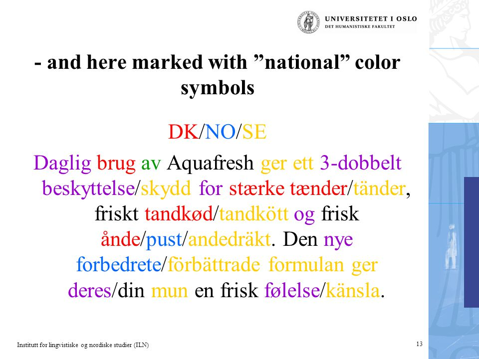 "Institutt for lingvistiske og nordiske studier (ILN) 13 - and here marked with ""national"" color symbols DK/NO/SE Daglig brug av Aquafresh ger ett 3-do"