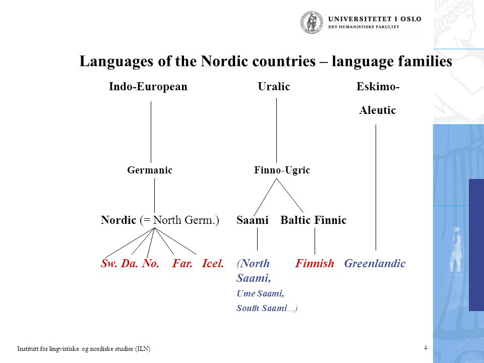 4 Languages of the Nordic countries – language families Indo-EuropeanUralicEskimo- Aleutic GermanicFinno-Ugric Nordic (= North Germ.)SaamiBaltic Finni