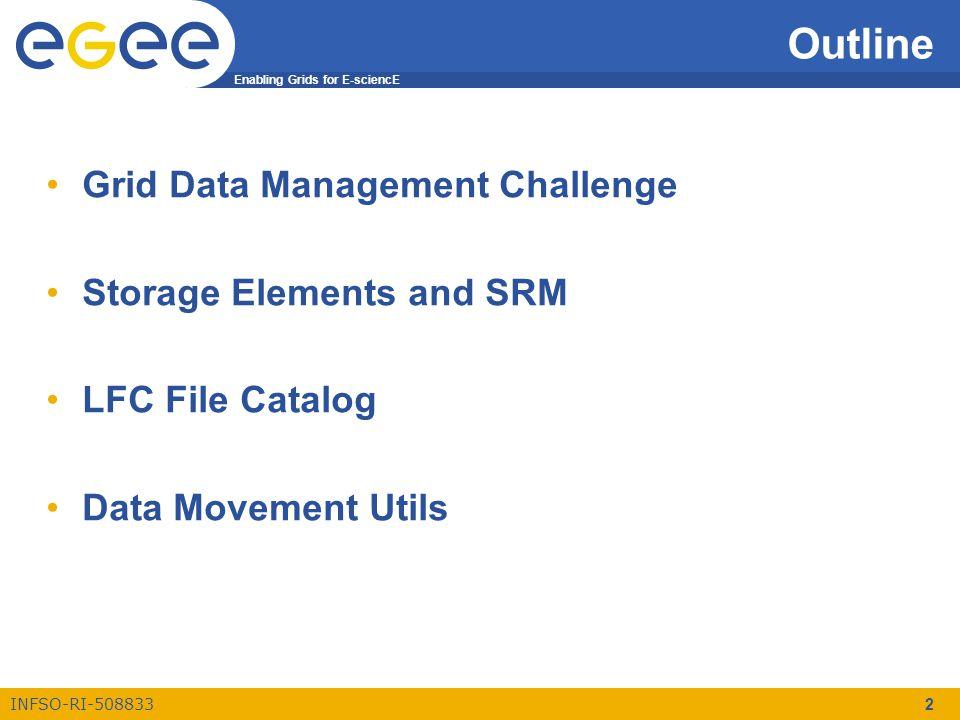 Enabling Grids for E-sciencE INFSO-RI-508833 3 Grid DM Challenge Grid Data Management Challenge Storage Elements and SRM LCG File Catalog Data Movement Utils