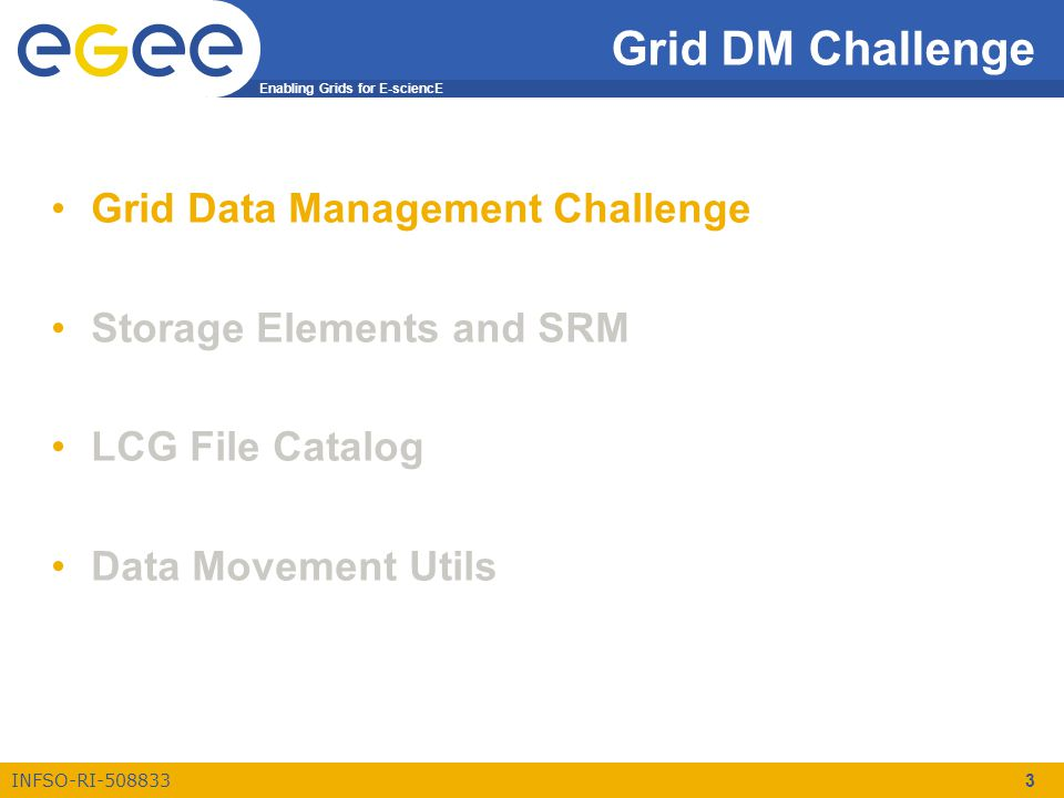 Enabling Grids for E-sciencE INFSO-RI-508833 14 File Catalog and DM Tools Grid Data Management Challenge Storage Elements and SRM LFC File Catalog Data Movement Utils