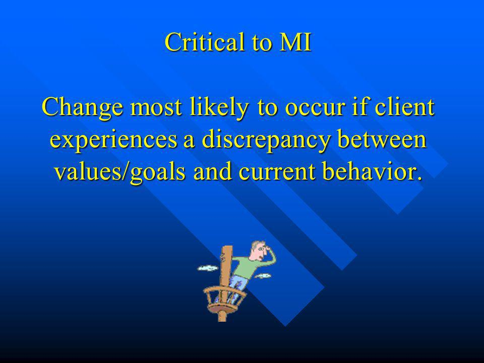 Critical to MI Change most likely to occur if client experiences a discrepancy between values/goals and current behavior.