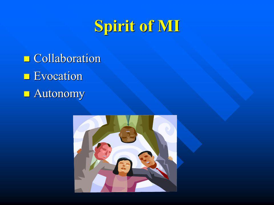 Spirit of MI Collaboration Collaboration Evocation Evocation Autonomy Autonomy