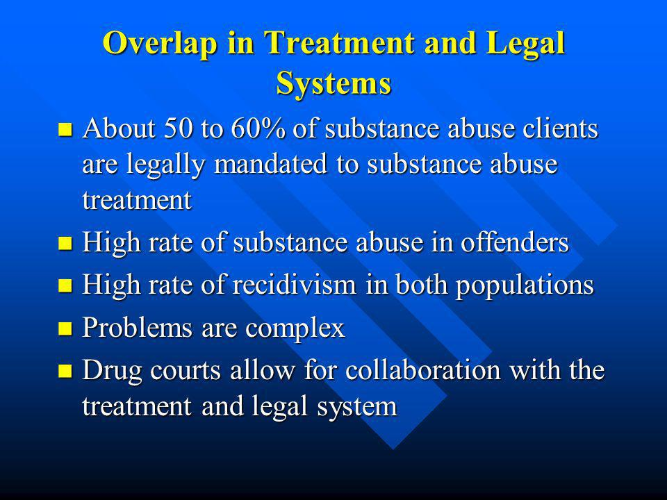 Overlap in Treatment and Legal Systems About 50 to 60% of substance abuse clients are legally mandated to substance abuse treatment About 50 to 60% of substance abuse clients are legally mandated to substance abuse treatment High rate of substance abuse in offenders High rate of substance abuse in offenders High rate of recidivism in both populations High rate of recidivism in both populations Problems are complex Problems are complex Drug courts allow for collaboration with the treatment and legal system Drug courts allow for collaboration with the treatment and legal system