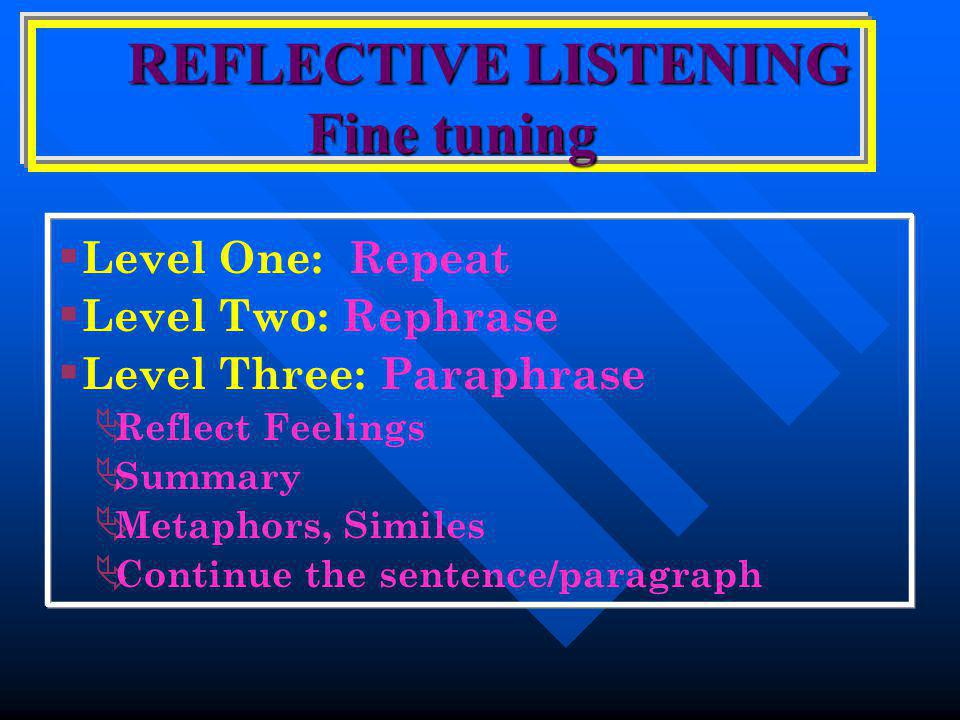 REFLECTIVE LISTENING Fine tuning REFLECTIVE LISTENING Fine tuning  Level One: Repeat  Level Two: Rephrase  Level Three: Paraphrase  Reflect Feelings  Summary  Metaphors, Similes  Continue the sentence/paragraph