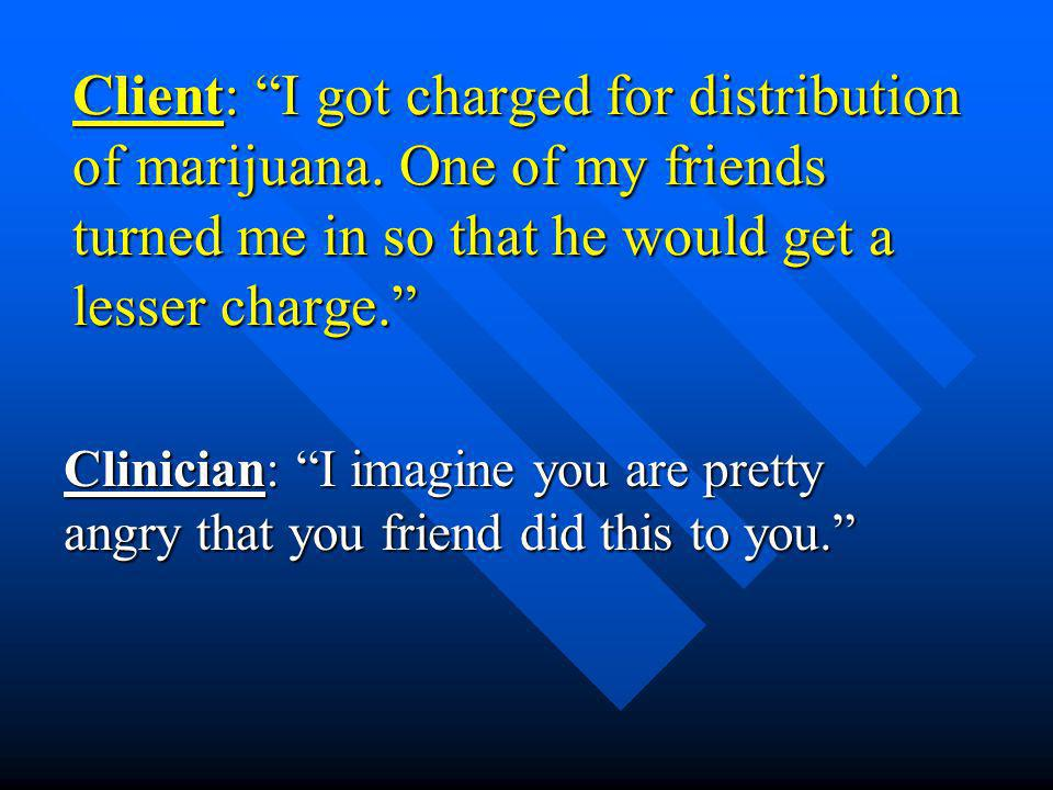 Client: I got charged for distribution of marijuana.