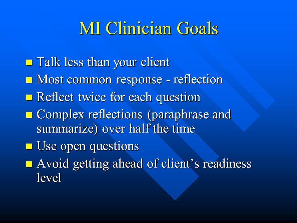 MI Clinician Goals Talk less than your client Talk less than your client Most common response - reflection Most common response - reflection Reflect twice for each question Reflect twice for each question Complex reflections (paraphrase and summarize) over half the time Complex reflections (paraphrase and summarize) over half the time Use open questions Use open questions Avoid getting ahead of client's readiness level Avoid getting ahead of client's readiness level