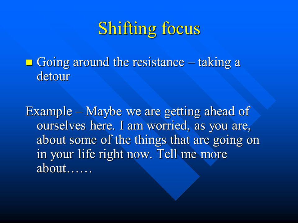 Shifting focus Going around the resistance – taking a detour Going around the resistance – taking a detour Example – Maybe we are getting ahead of ourselves here.