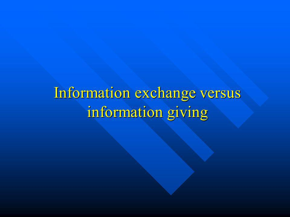 Information exchange versus information giving