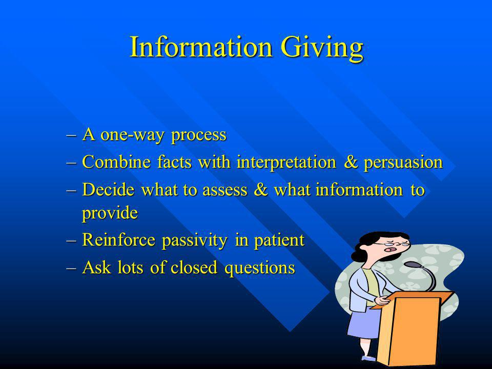 Information Giving –A one-way process –Combine facts with interpretation & persuasion –Decide what to assess & what information to provide –Reinforce passivity in patient –Ask lots of closed questions