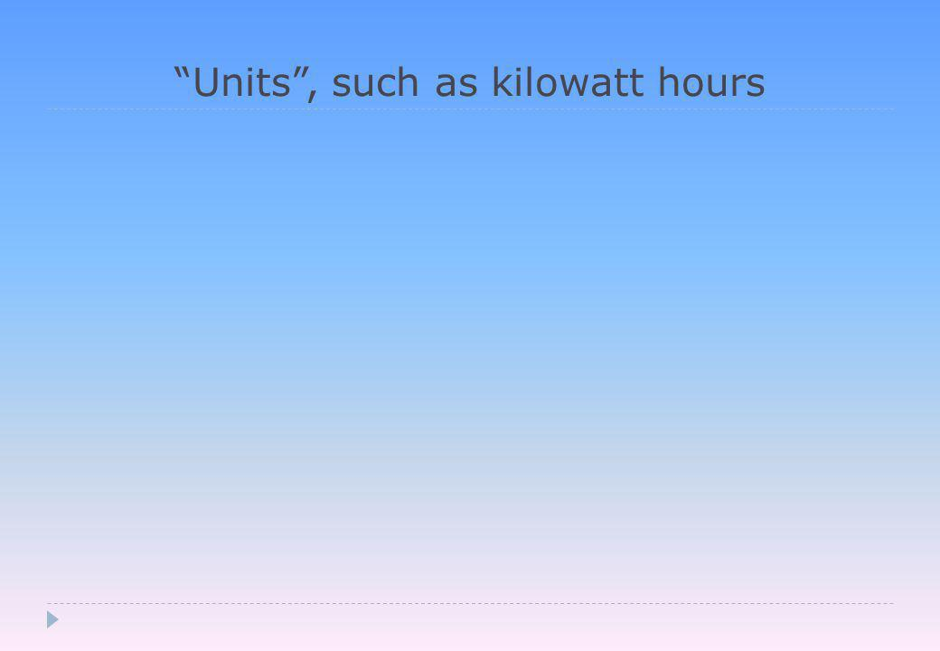 Units , such as kilowatt hours