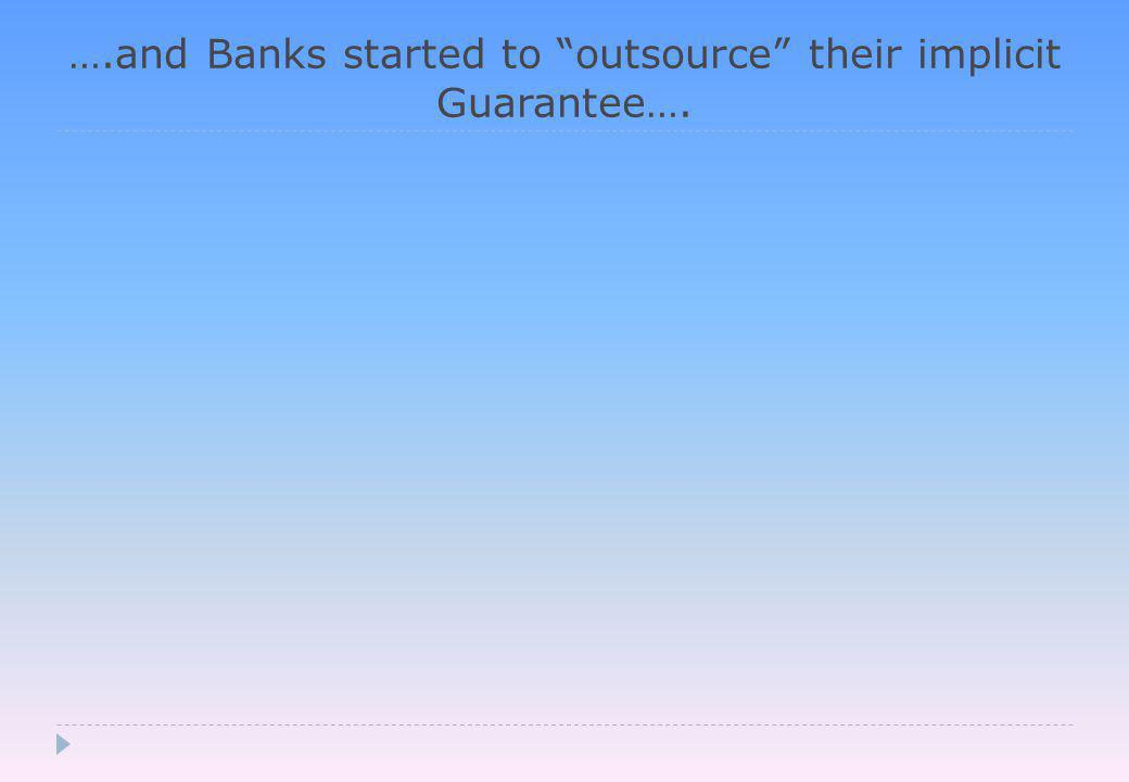 ….and Banks started to outsource their implicit Guarantee….