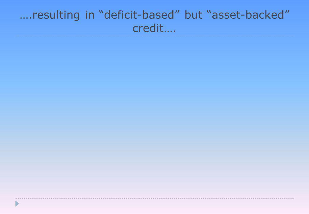 ….resulting in deficit-based but asset-backed credit….