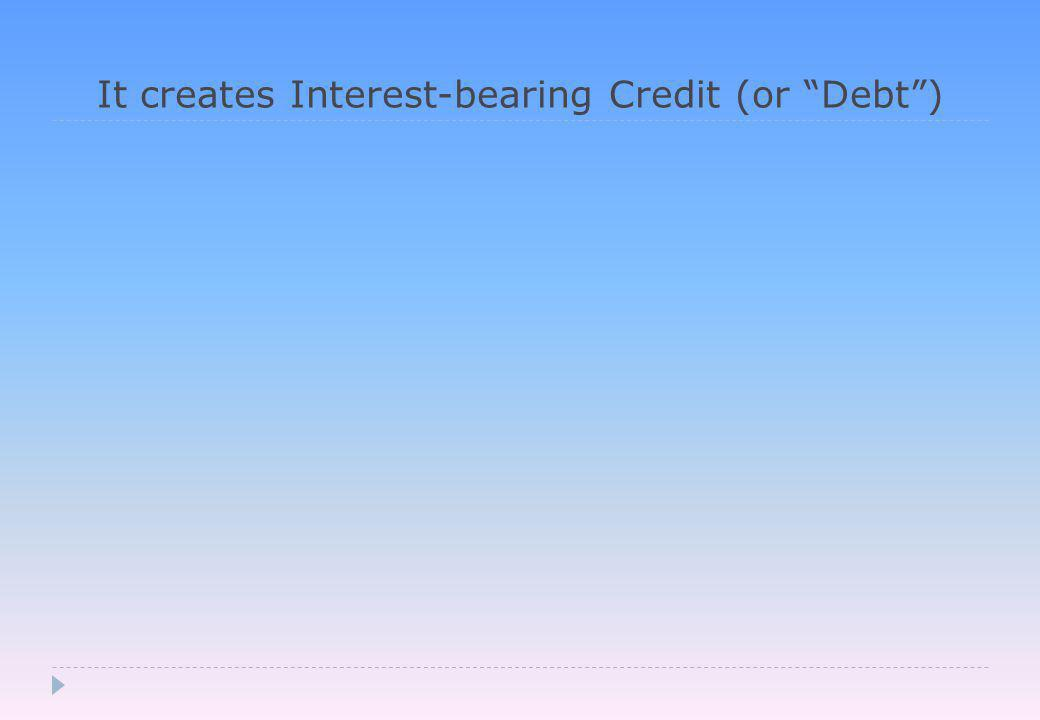 It creates Interest-bearing Credit (or Debt )