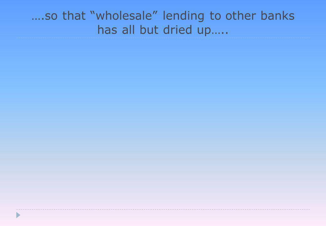 ….so that wholesale lending to other banks has all but dried up…..