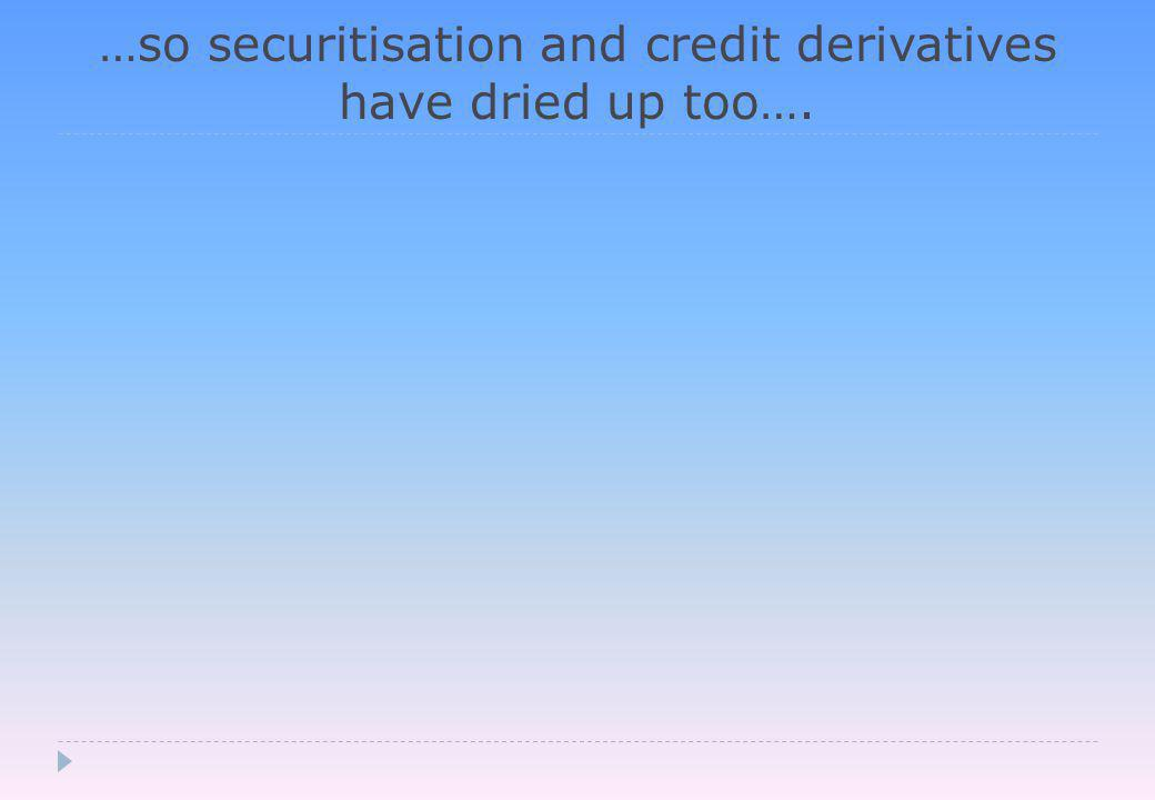 …so securitisation and credit derivatives have dried up too….