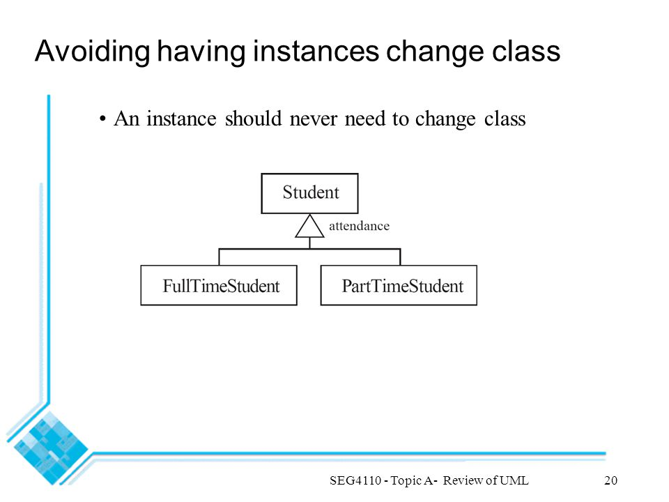 SEG4110 - Topic A- Review of UML20 Avoiding having instances change class An instance should never need to change class