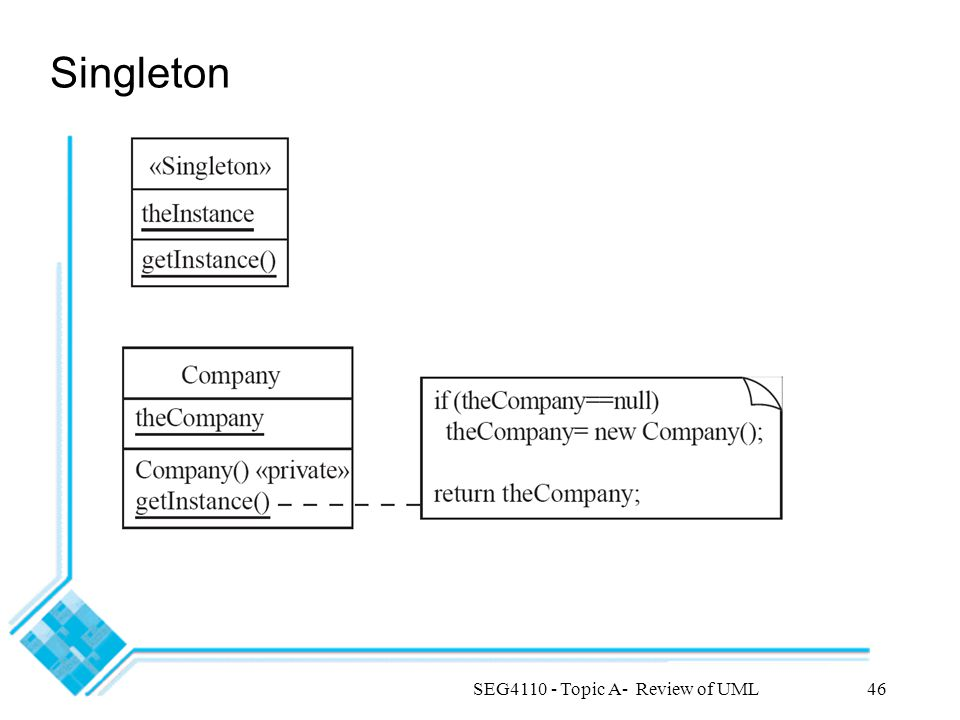 SEG4110 - Topic A- Review of UML46 Singleton