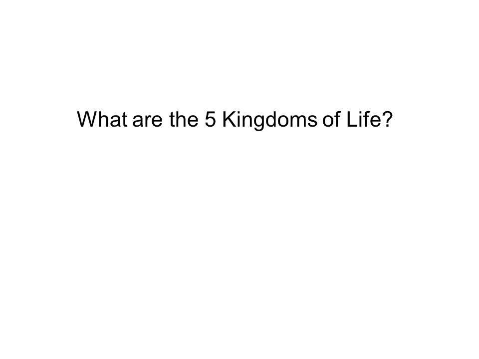 What are the 5 Kingdoms of Life?