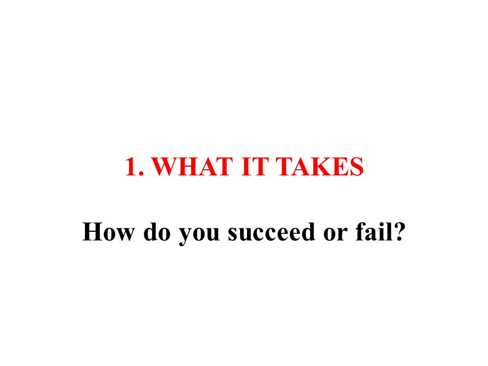 1. WHAT IT TAKES How do you succeed or fail?