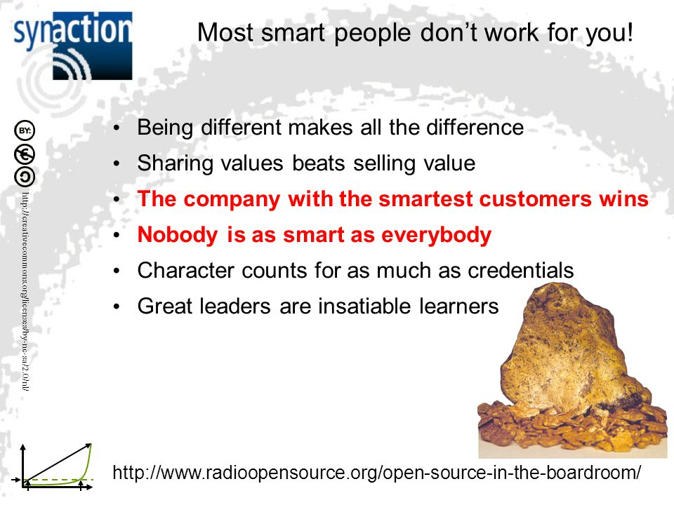 Most smart people don't work for you! Being different makes all the difference Sharing values beats selling value The company with the smartest custom