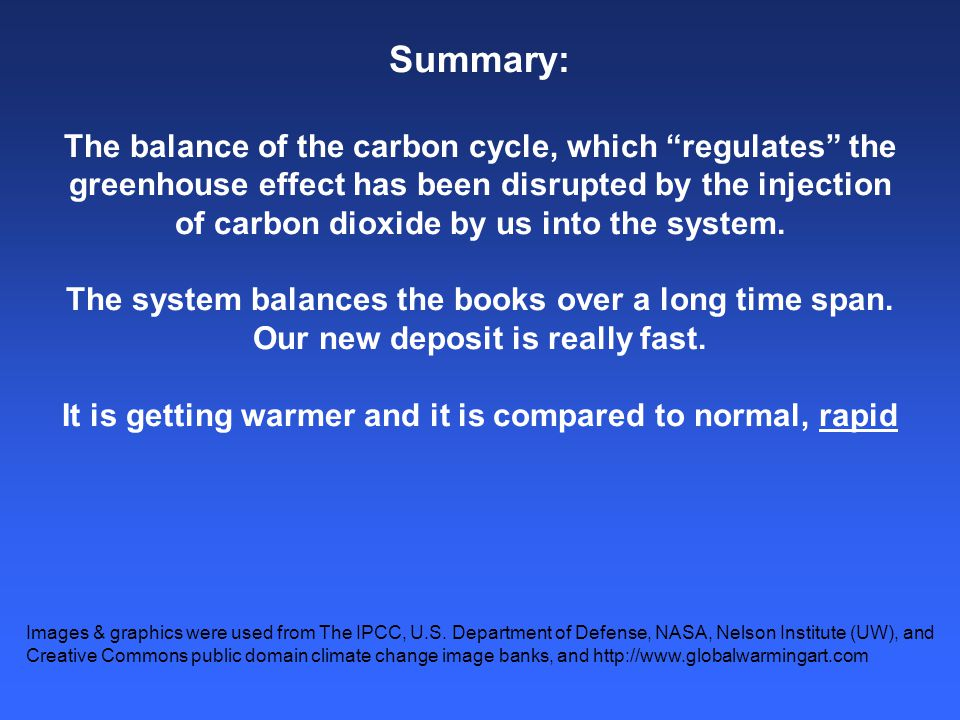 Summary: The balance of the carbon cycle, which regulates the greenhouse effect has been disrupted by the injection of carbon dioxide by us into the system.