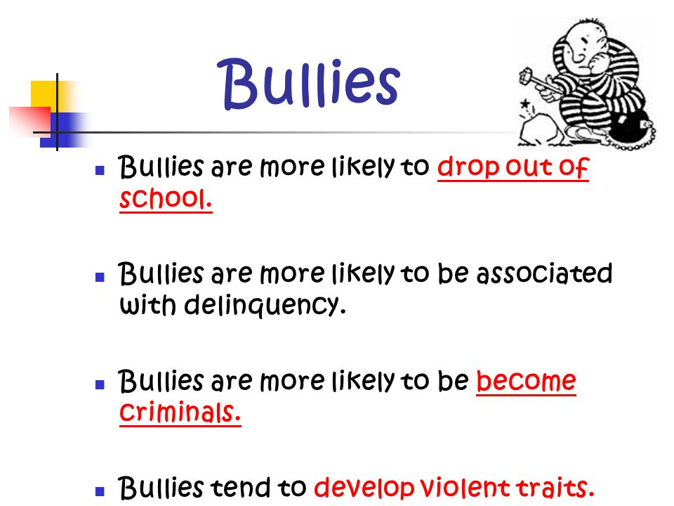 Bullies Are more likely to: Be physically aggressive/fight Vandalize Steal Drink and smoke Skip school Drop out Carry Weapons