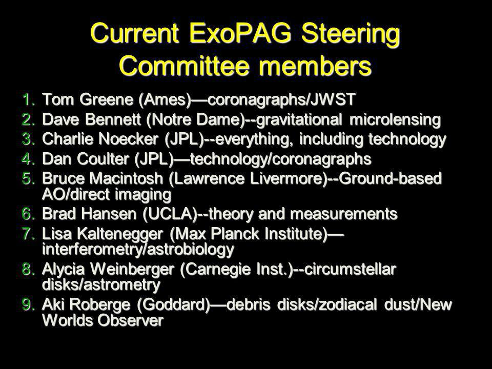 Current ExoPAG Steering Committee members 1.Tom Greene (Ames)—coronagraphs/JWST 2.Dave Bennett (Notre Dame)--gravitational microlensing 3.Charlie Noecker (JPL)--everything, including technology 4.Dan Coulter (JPL)—technology/coronagraphs 5.Bruce Macintosh (Lawrence Livermore)--Ground-based AO/direct imaging 6.Brad Hansen (UCLA)--theory and measurements 7.Lisa Kaltenegger (Max Planck Institute)— interferometry/astrobiology 8.Alycia Weinberger (Carnegie Inst.)--circumstellar disks/astrometry 9.Aki Roberge (Goddard)—debris disks/zodiacal dust/New Worlds Observer