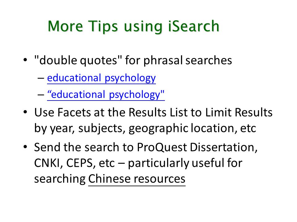 More Tips using iSearch