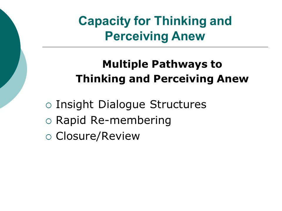 Capacity for Thinking and Perceiving Anew Multiple Pathways to Thinking and Perceiving Anew  Insight Dialogue Structures  Rapid Re-membering  Closure/Review