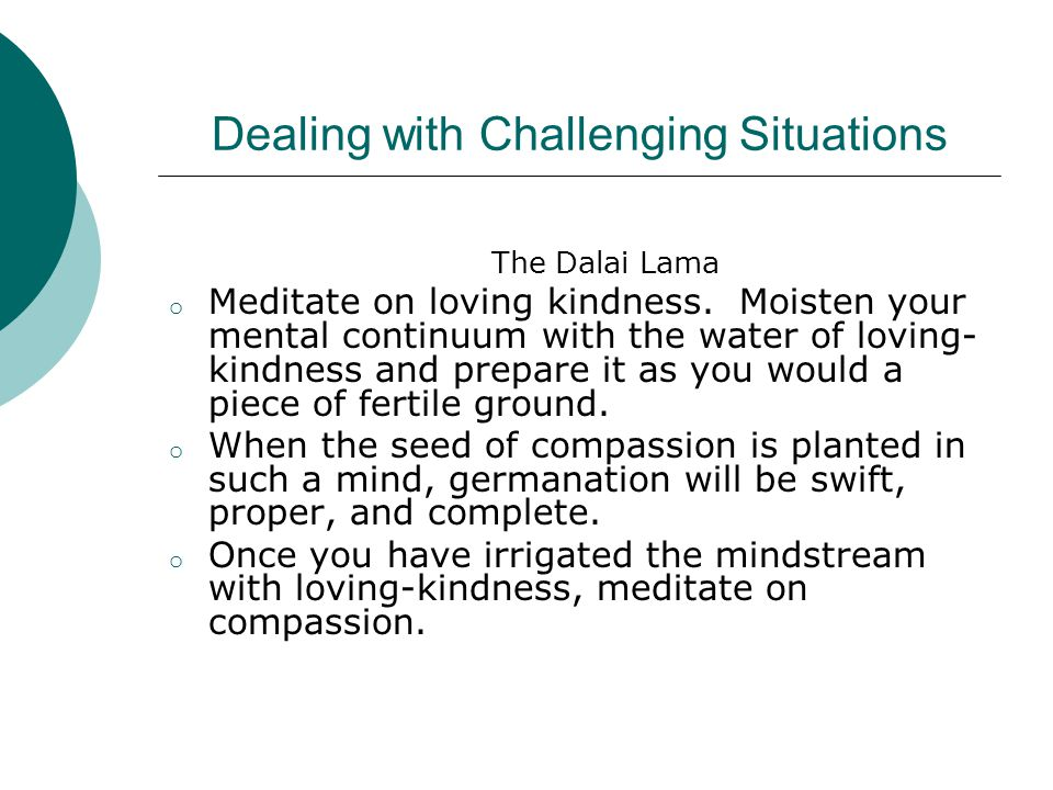 Dealing with Challenging Situations Mindfulness Techniques  Cultivating Compassion (reflecting on emotions before lashing out at someone)  Being in the Present Moment: Stress-reducing Techniques through Meditation (wedged throughout the school day)  Breathing and Imagining Loving Kindness (gentle breaths and still bodies)  Breathing and Concentrating on a Single Object (sound of the Tibetan singing bowl)  Helping Children Slow Down and Think Before Acting (finding answers within themselves)  Infusing Talking Yoga (less negative internal chatter)  Integrating Active Meditation (sing, dance, laugh for a specific period followed by a period of sitting)